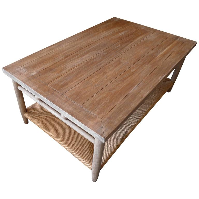 Newport Contemporary Walnut Coffee Table With Rush Shelf At 1stdibs