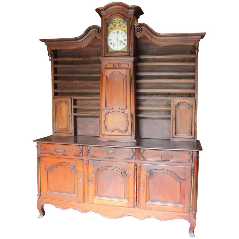 Louis XV Style Buffet Vaisselier with Clock
