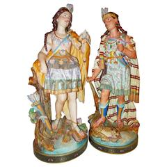 "19th Century French Biscuit Figurines, 27"" Tall of Native Americans"