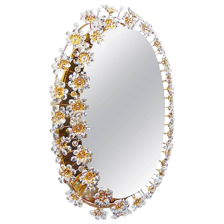 Palwa Mirror Light Oval Illuminated Gilded Brass Crystal Glass, 1960s