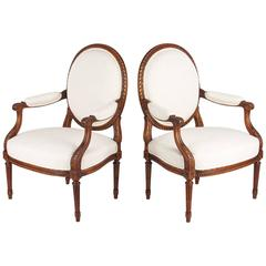 Pair of Louis XVI Style Medallion Backs Armchairs, circa 1920s