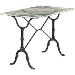Vintage French Marble-Top Iron Base Bistro Table, 1970s