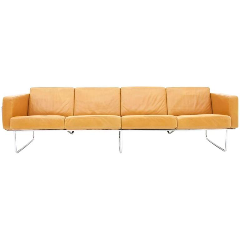Rare Four Seat Leather Sofa By Hans Eichenberger For