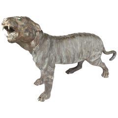 Unique Sculptural Bronze Tiger Garden Statue