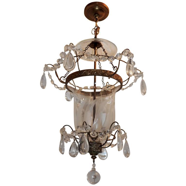 Superior Wonderful Etched Glass Leaf Bronze Crystal Regency Neoclassical Bell Jar  Lantern For Sale