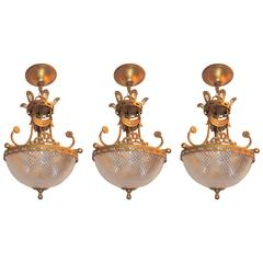 Wonderful Set Three Gilt Tole Cut Crystal Glass Bowl Basket Chandelier Fixtures