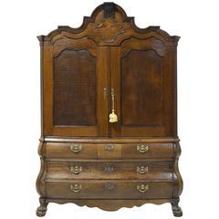 18th Century Dutch Bombe Kast or Cupboard in Oak, Dated 1783