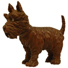 German Black Forest Hand-Carved Figure of a Scottish Terrier with Glass Eyes