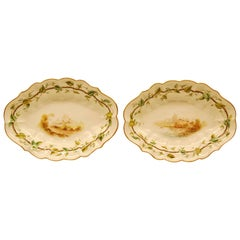 Pair of Royal Worcester Oval Dessert Bowls Dating to 1909