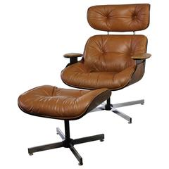 Mid-Century Modern Plycraft Eames-Style Lounge Chair and Ottoman
