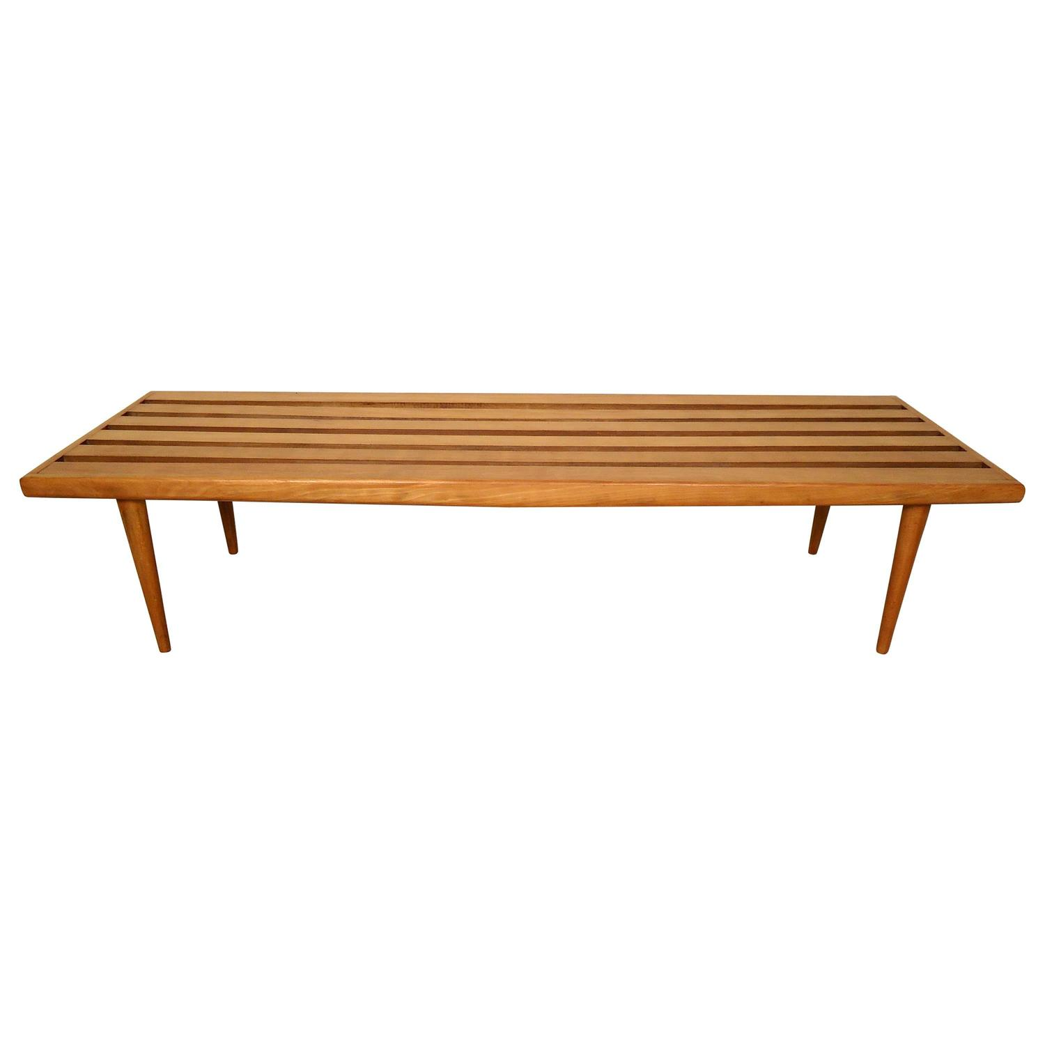 Vintage-Modern Wooden Slat Bench/Coffee Table At 1stdibs