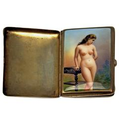 Silver Erotica Cigarette Case Painting Vintage Lady Nude Germany, circa 1890