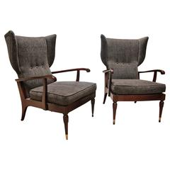 Pair of Reclining Wingback Armchairs by Paolo Buffa, 1950