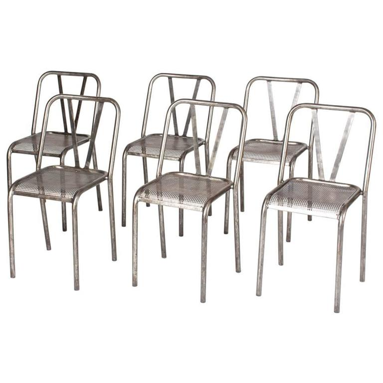 1950s Industrial Metal Dining Chairs Set of Six