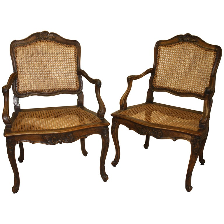 Pair of 18th Century Caned Chairs For Sale