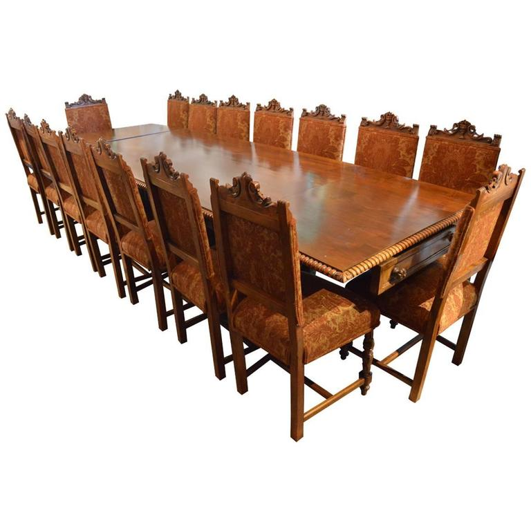 Very Large 19th Century Italian Hand Carved Dining Set With 18 Chairs 1