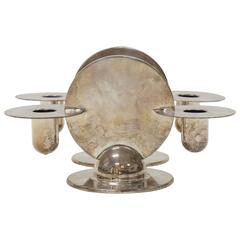 Pair of Art Deco Memphis Milano Style Silver Plated Candleholders by Chase