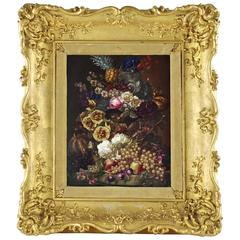 Thomas Brentnall Still Life with Fruit and Flowers in Carved Giltwood Frame