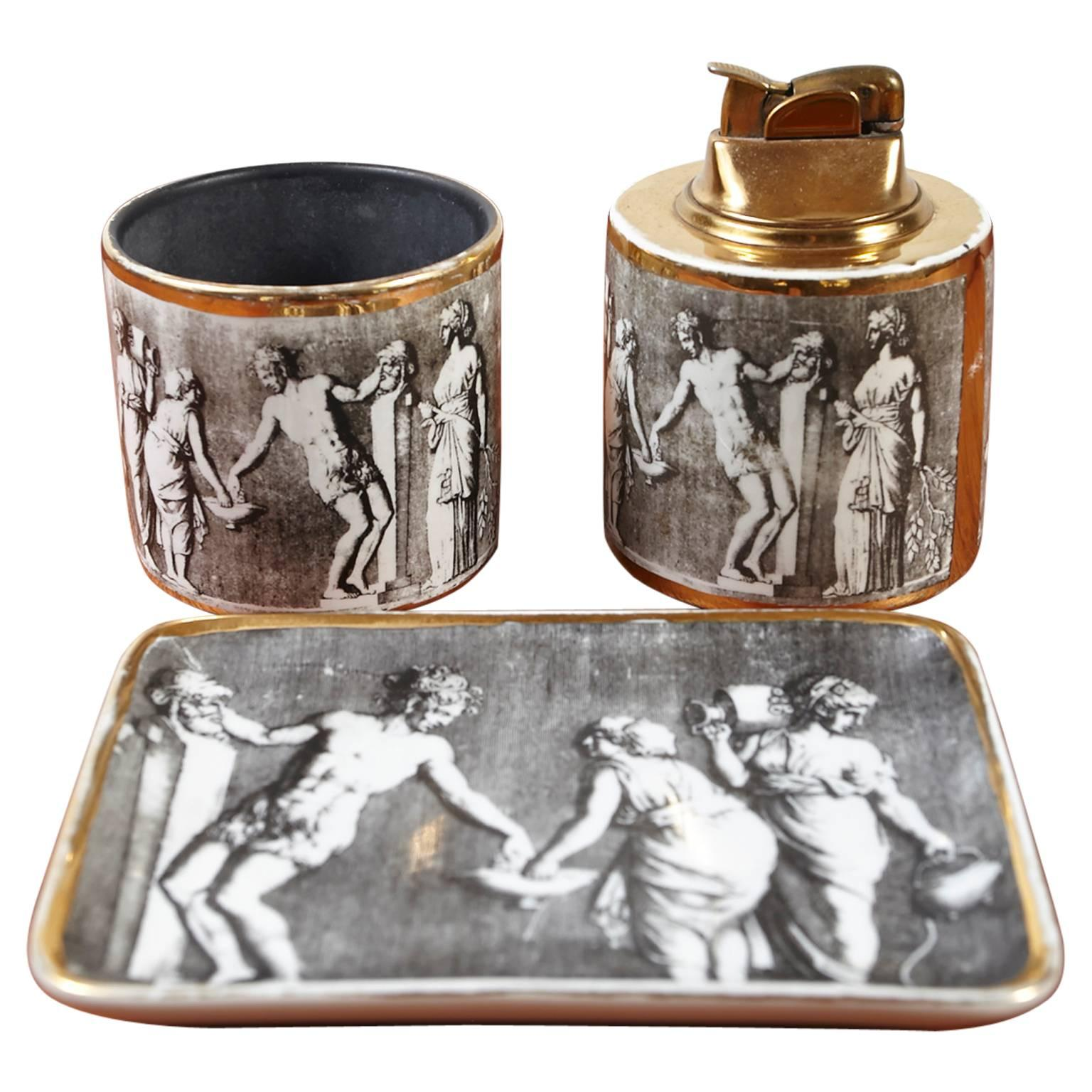 "Piero Fornasetti ""Orlik"" Smoking Set, Table Lighter, Cigarette Holder and Tray"