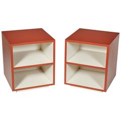 1970s Orange Cube Side Tables, Pair