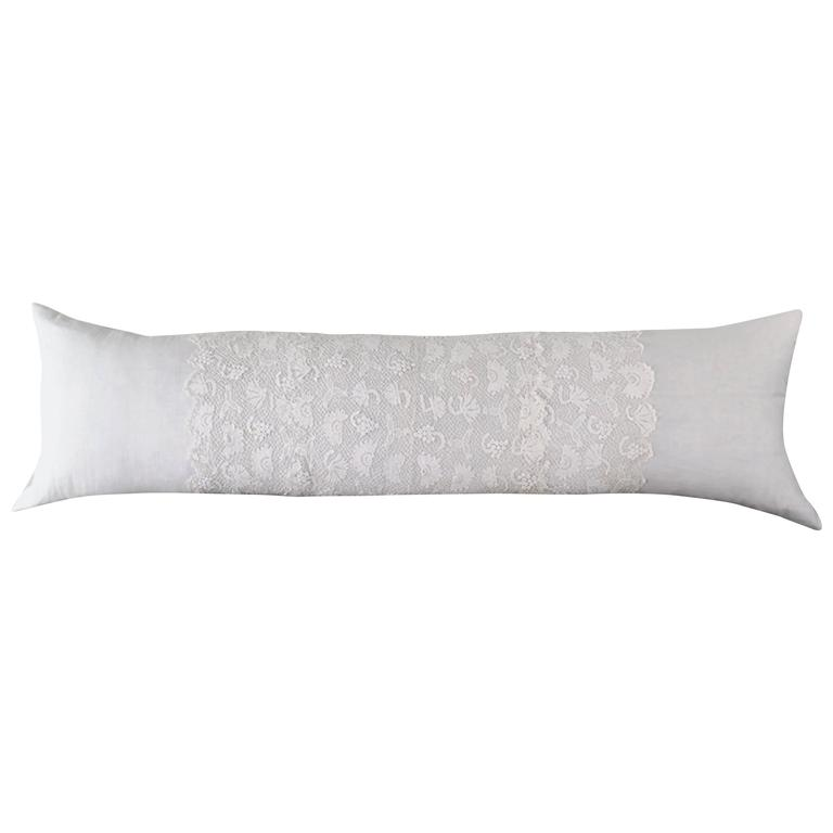 antique white french linen bolster pillow with irish lace panels 1