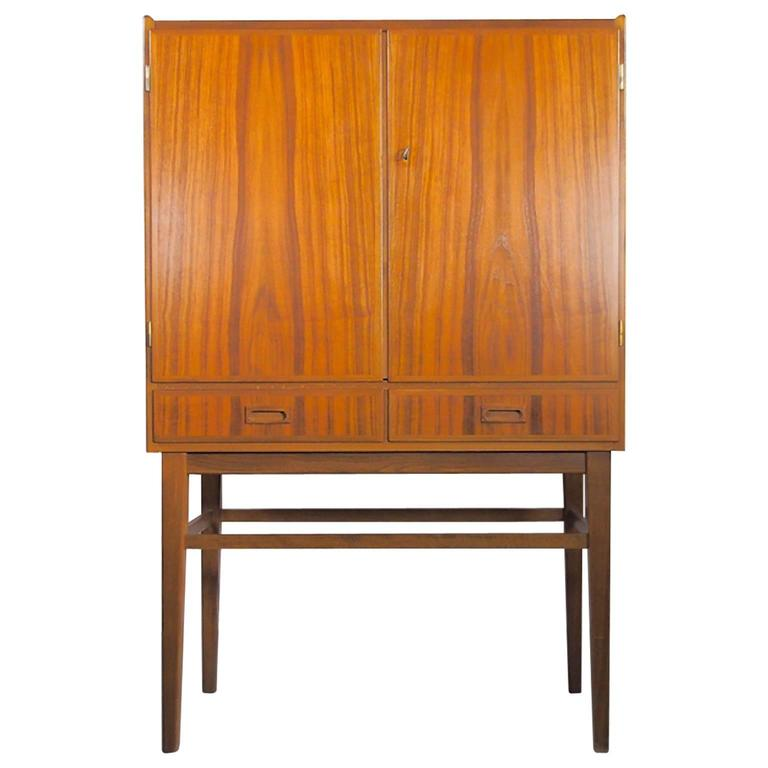 Mid-20th Century Bar Cabinet with Interior Mirrors and Light For Sale