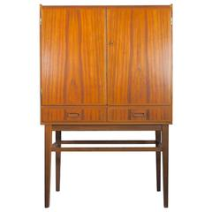 Mid-20th Century Bar Cabinet with Interior Mirrors and Light