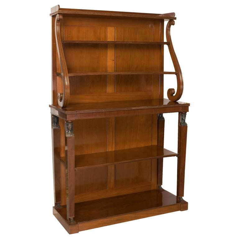 Fine Quality Regency Period Open Bookcase in Solid Mahogany 1