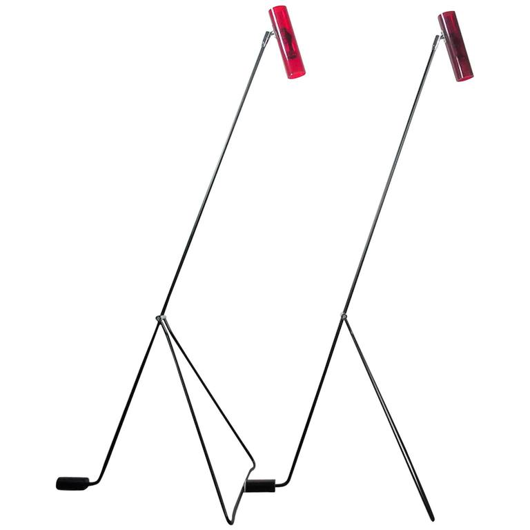 Pair of Mid-Century Modern Red Floor Lamps Attributed to Alf Svensson