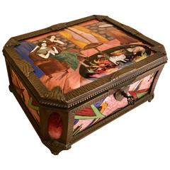 Art Deco Gamet French Unique Enamel and Porcelain Limogue Box