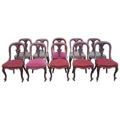 Set of Ten Victorian Mahogany Asthetic Movement Dining Chairs