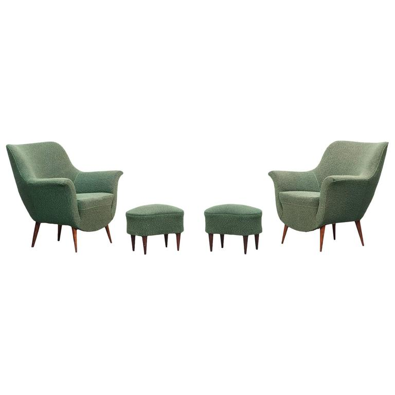 Pair of guglielmo veronesi lounge chairs with matching for Matching lounge furniture
