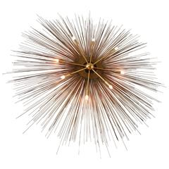 Huge Sunburst & Brass Sputnik Lighted Wall Art , 1970s , USA