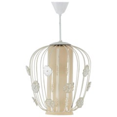 Swedish 1950s Glass and Lacquered Metal Ceiling Lamp