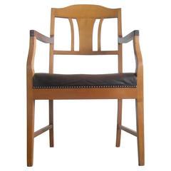 Antique Danish Beechwood Leather Armchair