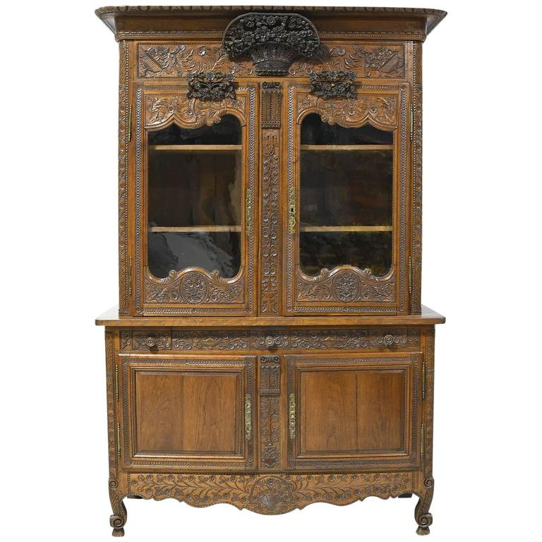 French Marriage Buffet a Deux-Corps in Carved Oak from Normandy, circa 1800