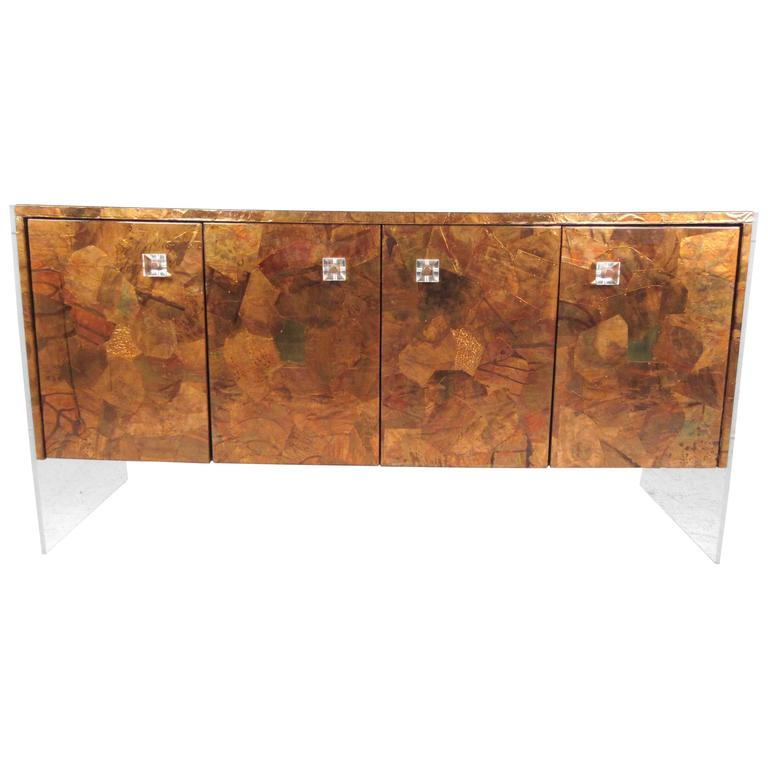Patchwork Copper and Lucite Sideboard in the Style of Milo Baughman