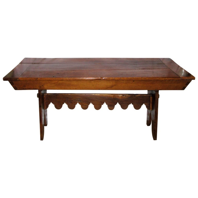 French Country Solid Ash Trestle Writing Table For Sale