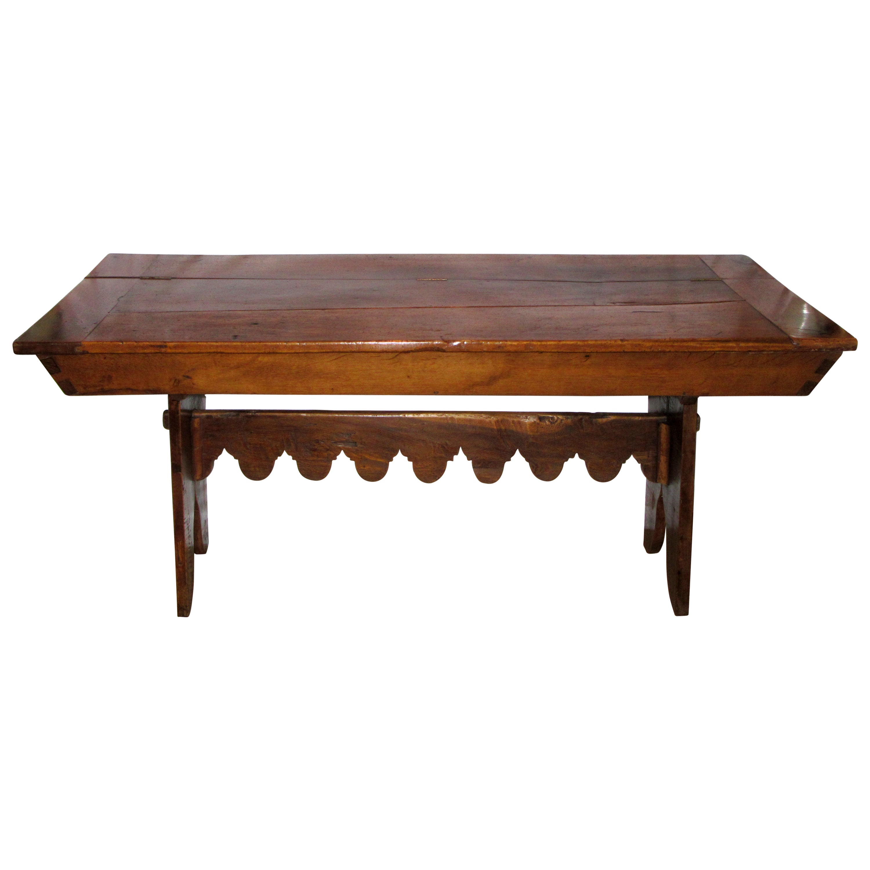 French Country Solid Ash Trestle Writing Table