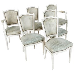 Set of Louis XVI Style Dining Chairs Painted White with Nailhead Upholstery