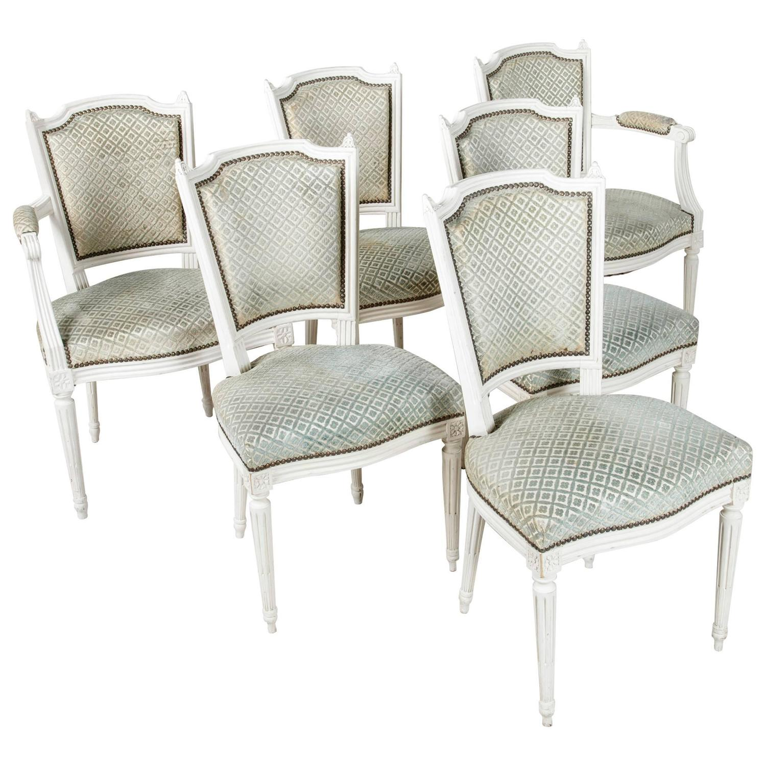 Set of louis xvi style dining chairs painted white with nailhead upholstery for sale at 1stdibs - Nailhead dining room chairs ...