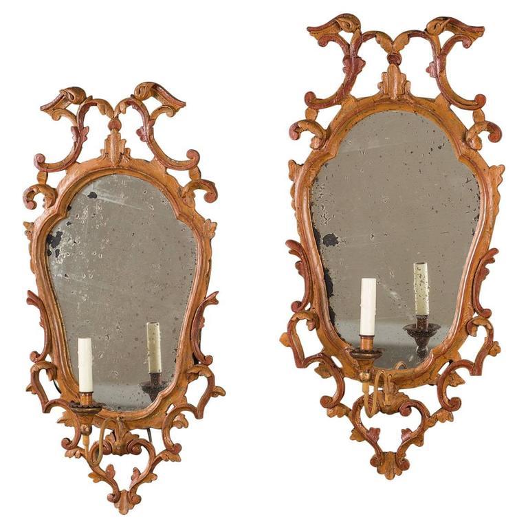 Pair of Antique Italian Baroque Painted Mirror Sconces, circa 1840