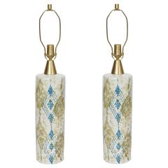 Bitossi Moss Green/Blue Decorated Bone White Ceramic Table Lamps