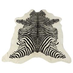 Contemporary Stenciled Zebra Print Brazilian Cowhide Rug, 2016