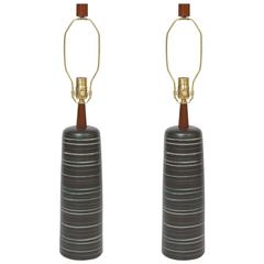 Gordon Martz Chocolate Brown Ceramic Table Lamps