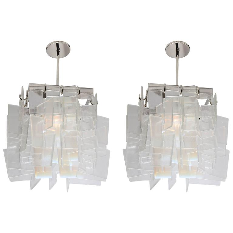 Pair of Contemporary American Interlocking C-Shaped Glass Chandeliers, 2016 1