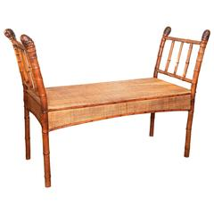 19th Century Antique Bamboo Bench