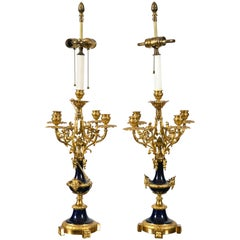 Pair of French Louis XVI Cobalt Blue Porcelain and Ormolu Candelabra Lamps