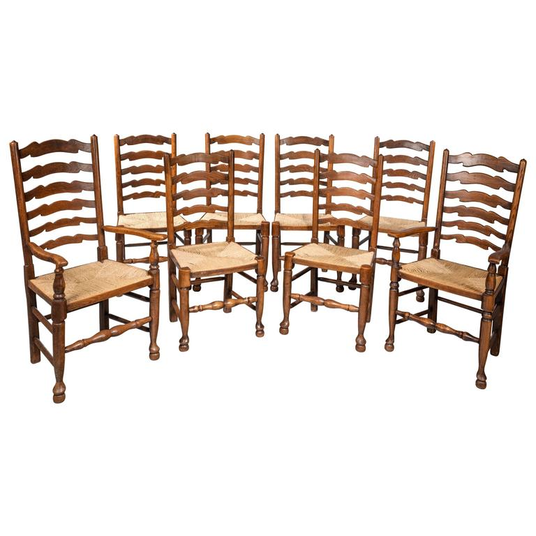 Set of Eight Late 19th Century Ladderback Chairs For Sale  : 5859593l from www.1stdibs.com size 768 x 768 jpeg 56kB