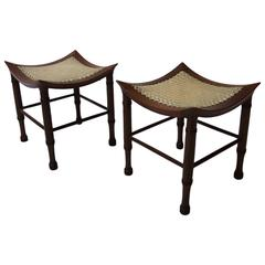 Pair of Arts & Crafts 'Thebes' Stools by Liberty & Co
